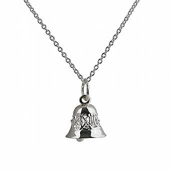 Silver 10x11mm Ringing Bell Pendant with a rolo Chain 20 inches
