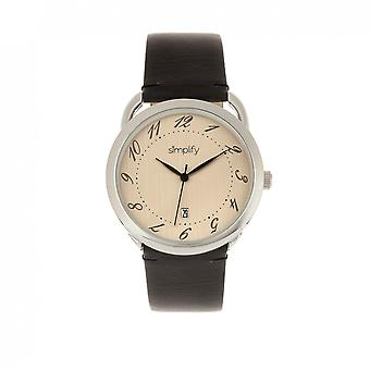 Simplify The 4900 Leather-Band Watch w/Date - Silver/Black