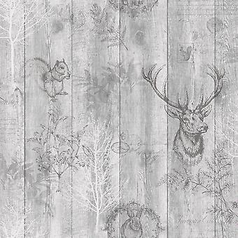 Ciervo de madera Panel papel pintado efecto madera granos animales árboles impresión hojas Holden gris