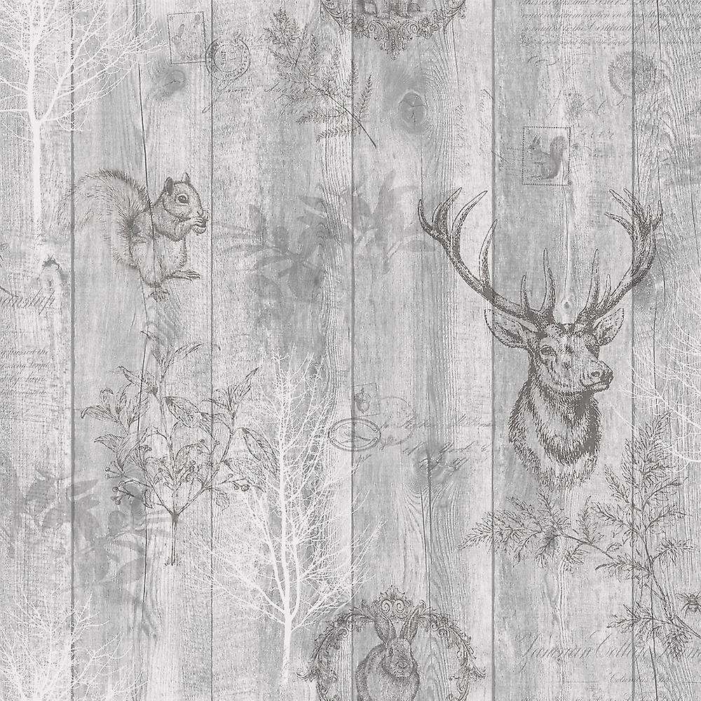 Stag Wood Panel Wallpaper Wooden Effect Grains Animal Print Trees Leaves Holden Grey