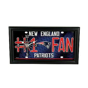 NFL New England Patriots Number 1 Football Fan License Plate Mantel / Wall Clock