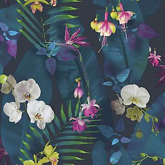 Arthouse Pindorama Flowers Floral Tropics Navy Wallpaper Pink Quality Designer