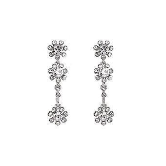 Fable Womens/Ladies Three Diamante Flower Earrings