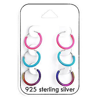 Kinder-Sterling Silber Farben-Ohrringe-Set von 3