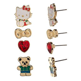 Hello Kitty 4 pièces boucle d'oreille ensemble