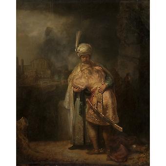 David-S Abschied von Jonathan, REMBRANDT, 50x40cm
