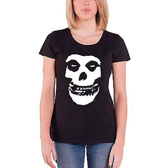Misfits T Shirt Silver Foil teeth skull logo Official Womens Skinny Fit Black