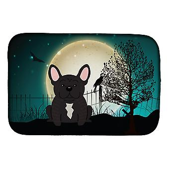 Halloween Scary French Bulldog Brindle Dish Drying Mat
