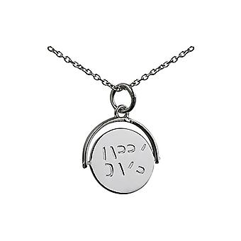 Silver 15x16mm round Happy Days spinning disc Pendant with a rolo Chain 24 inches