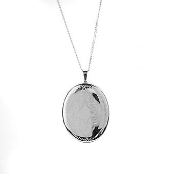 Eternity Sterling Silver Rhodium Plated Oval Filigree Pattern Locket And 18