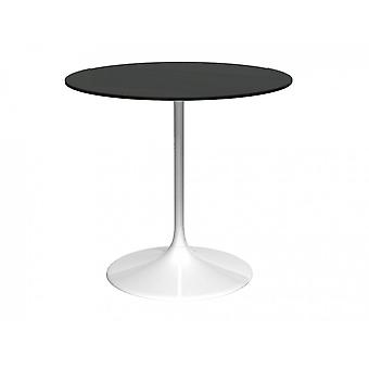 Gillmore Pedestal Medium Dining Table Black Glass And White