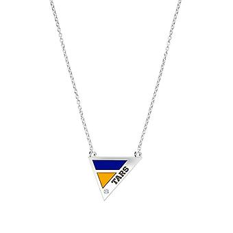 Rollins College Engraved Sterling Silver Diamond Geometric Necklace In Blue & Yellow