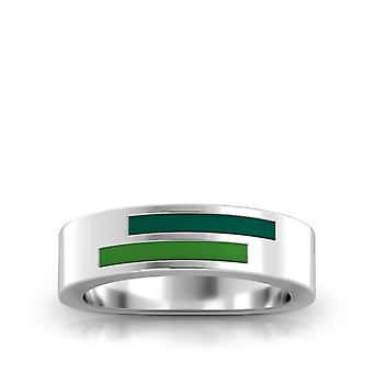 Stetson University Sterling Silver Asymmetric Email Ring In Green & Green
