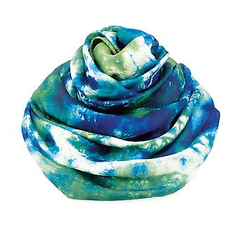 Eternal Collection Botanical Green Multi Tie Dye Oblong Pure Silk Scarf
