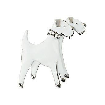 Eternal Collection Forever Friends Fox Terrier White Enamel Brooch