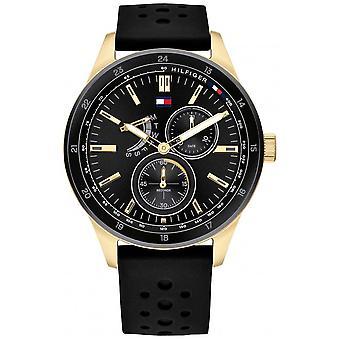 Tommy Hilfiger Correa de goma negra para hombres Marcación Negra (Black Dial) 1791636 Reloj