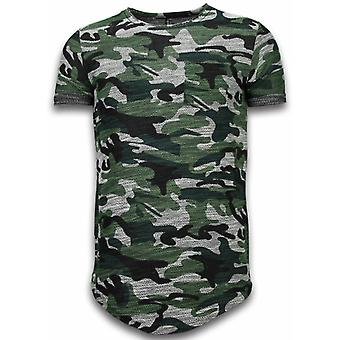 Assorted Camouflage T-shirt-Long Fit Camo Shirt Chest Pocket-Green