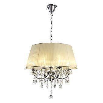 Diyas IL30056 Olivia hanger met ivoren crème schaduw 8 licht gepolijst chroom/kristal