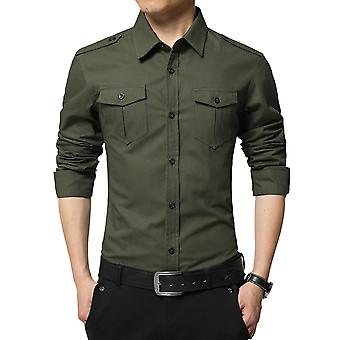 Allthemen Men's Shirt Military Style Cotton Slim Fit Herbst Langarm Shirt