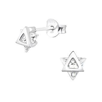 Star - 925 Sterling Silver Cubic Zirconia Ear Studs - W30080X