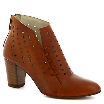 Leonardo sko kvinner ' s håndlagde hæler ankel støvler Tan openwork kalv Lær