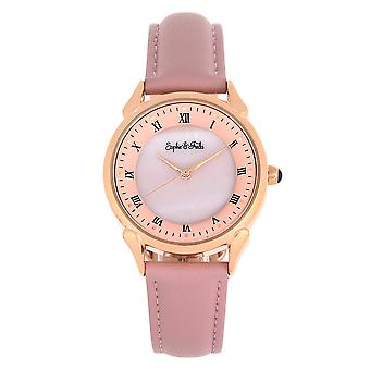 Sophie et Freda Mykonos Mother-Of-Pearl Leather-Band Watch - Light Pink