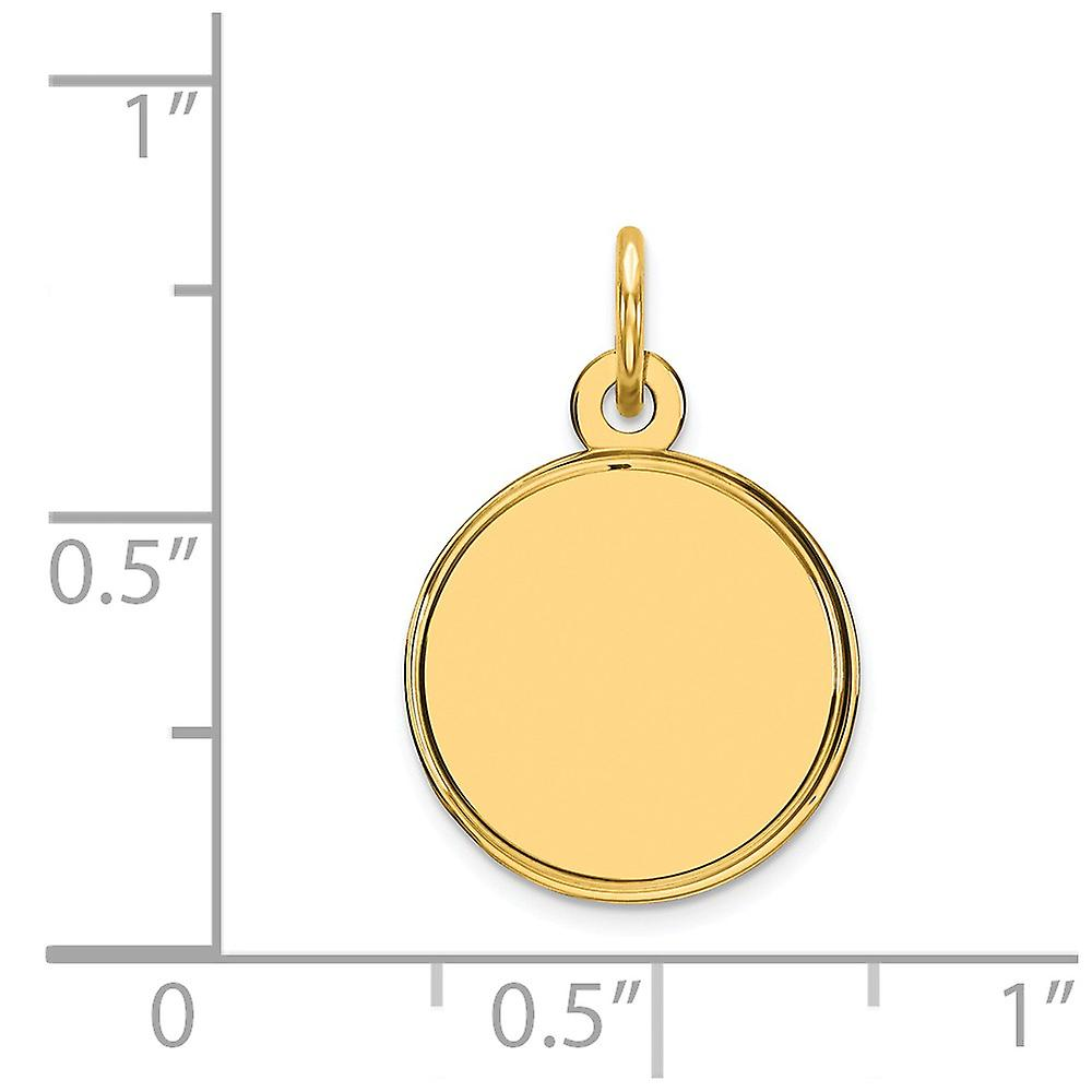 14k Yellow Gold Solid Polished Engravable Plain .011 Gauge Engraveable Round Disc Charm Pendant Necklace Jewelry Gifts f