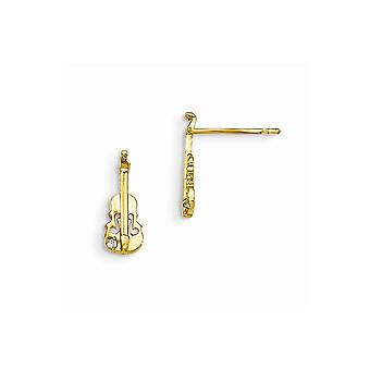 14kイエローゴールドマディK CZキュービックジルコニアの男の子または女の子のバイオリンポストイヤリングのためのダイヤモンドをシミュレート