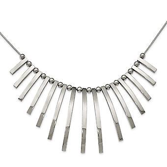 Edelstahl poliert Bars und Perlen mit 2 Zoll Ext. Halskette 19 Zoll Schmuck Geschenke für Frauen