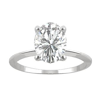 14K White Gold Moissanite by Charles & Colvard 9x7mm Oval Engagement Ring, 2.10ct DEW