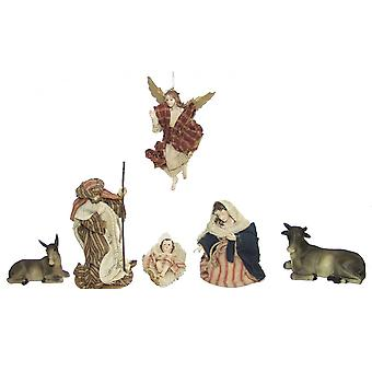 Nativity figurines Orient Oriental fabric clothing 11 pieces 13 cm crib