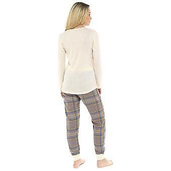 Senhoras 100% algodão slogan PRINT pijama Set loungewear