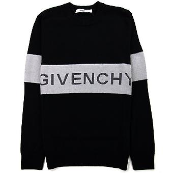 Givenchy Contrasting Stripe Sweater In Wool Black/white