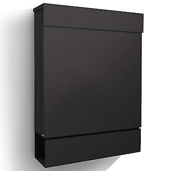 Letterman M Black RADIUS design mailbox with newspaper box, modern mailbox with newspaper roll and throw up