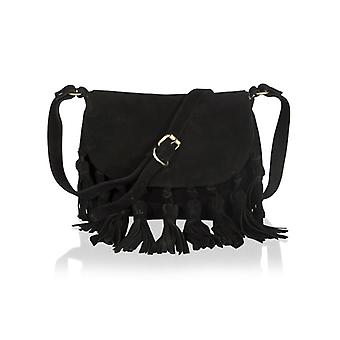 "Black Suede 11.0"" Flap Over Cross Body Bag With 9 Tassle Twist Knots Adjustable Shoulder Strap"