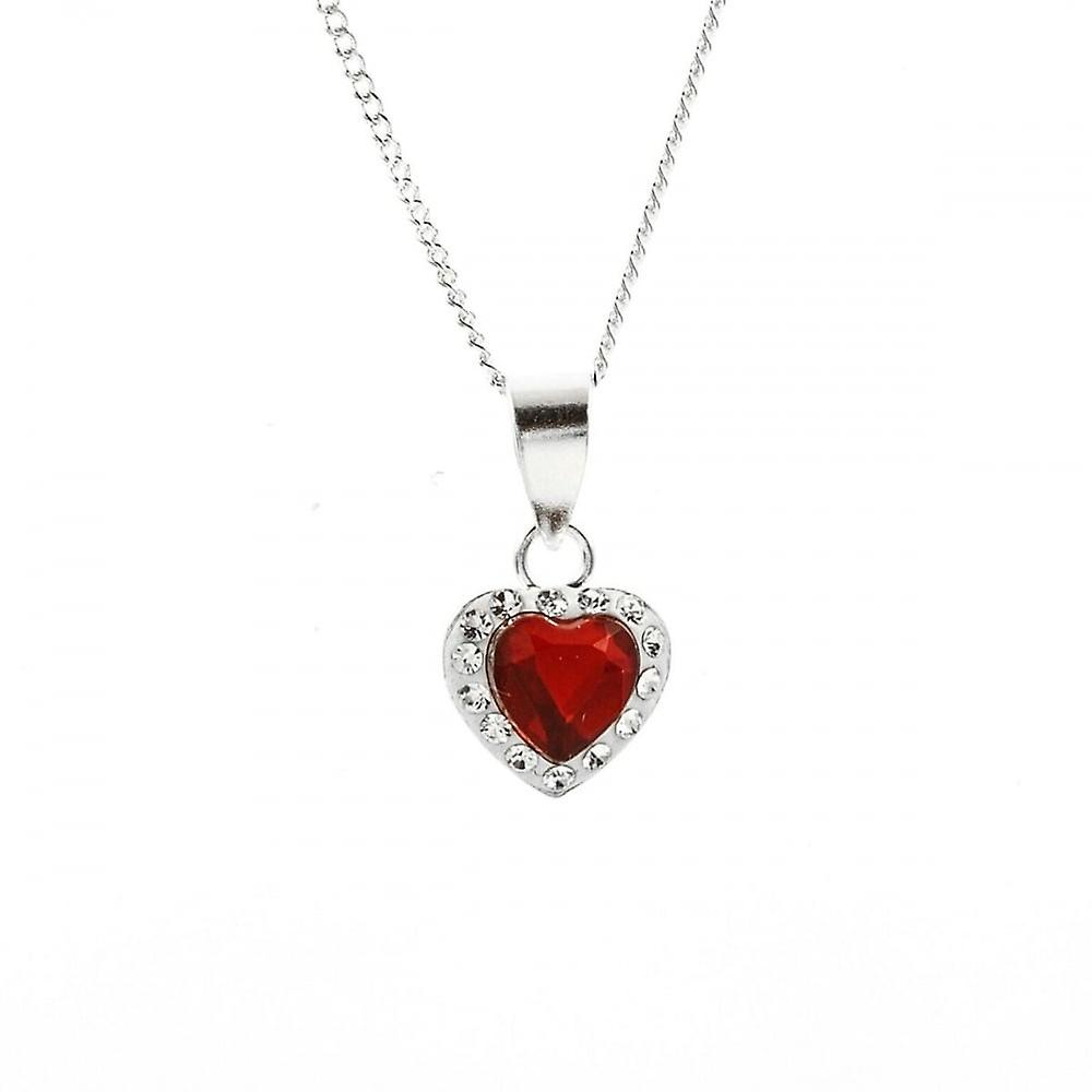Eternity Sterling Silver Red Crystal Heart Pendant And 18'' Chain