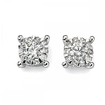 Elements Gold Elements White Gold Diamond Cluster Earrings GE908Z475