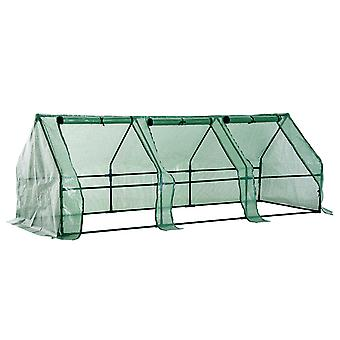 Outsunny 2.7 m Steel Frame Poly Tunnel Steeple Greenhouse - Green