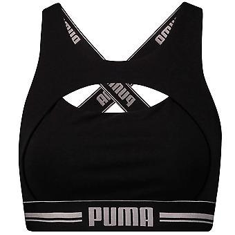 PUMA Women Cotton Modal Stretch Peekaboo Bra, Black / Silver, XS