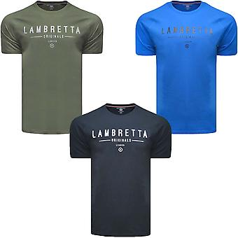 Lambretta Mens Originals Raglan Cotton Short Sleeve Crew Neck T-Shirt Top Tee