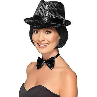 Sequin Trilby Hat, BLACK