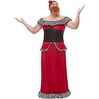 Bärtige Dame Kostüm Erwachsene rot