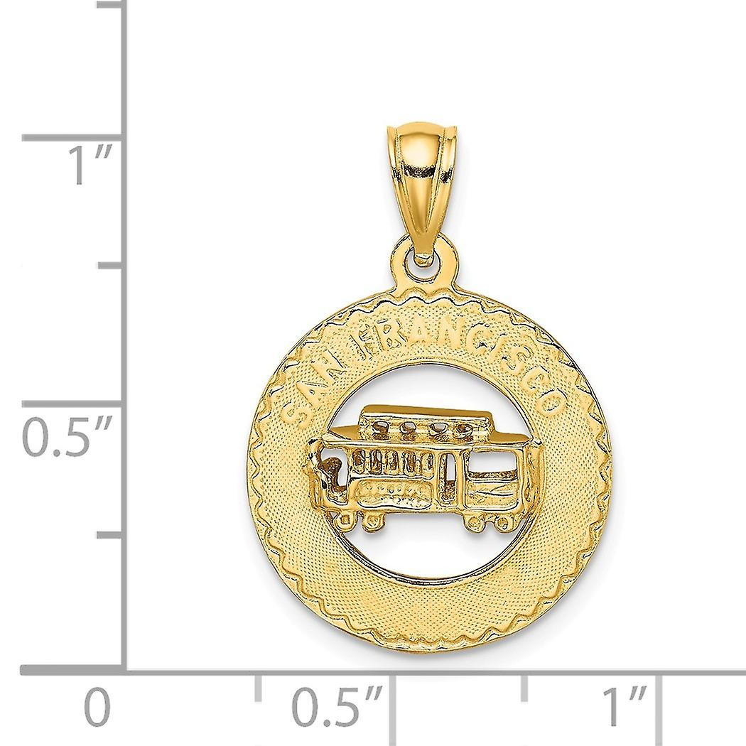 14k Gold 3 d San Francisco Disc With Cable Car Charm Pendant Necklace Jewelry Gifts for Women