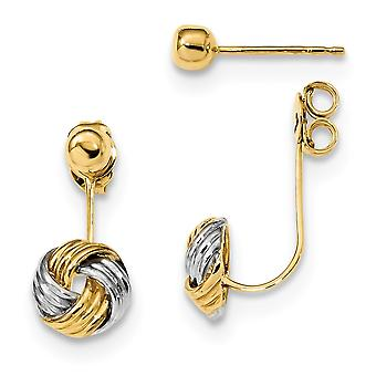 14k With Rhodium Front and Back Love Knot Polished Earrings Jewelry Gifts for Women - 2.5 Grams