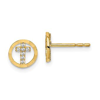 14k Madi K CZ Cubic Zirconia Simulated Diamond Sparkle Cut Circle Religious Faith Cross Post Earrings Measures 7.25mm lo