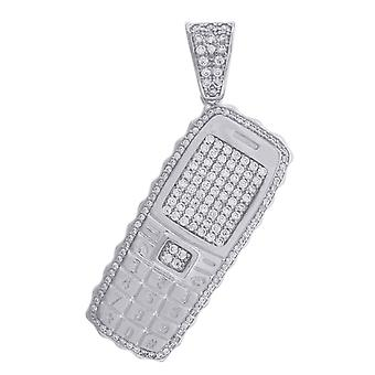 925 Sterling Silber Herren Runde CZ Zirkonia simuliert Diamant Handy Mode Anhänger Halskette Schmuck Gif