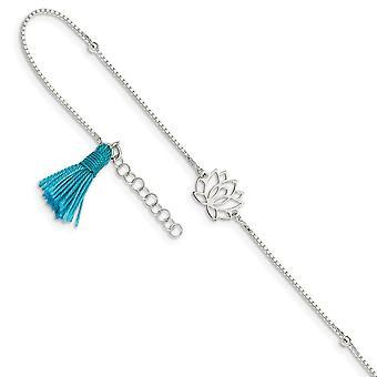 925 Sterling Silver Lotus Met Blauwe Stof Tassel W/ 1inch Ext. Enkelband 9 Inch Sieraden Geschenken voor vrouwen