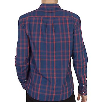 Wrangler Mens Flap Button Down Long Sleeve Casual Checked Shirt - Red/Navy