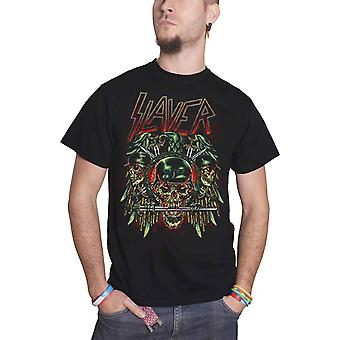 Slayer T Shirt Prey with Background Soldier Skull Logo Official Mens New Black