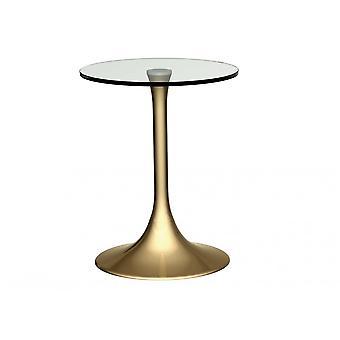 Gillmore Pedestal Beistelltisch klar Glas und Messing